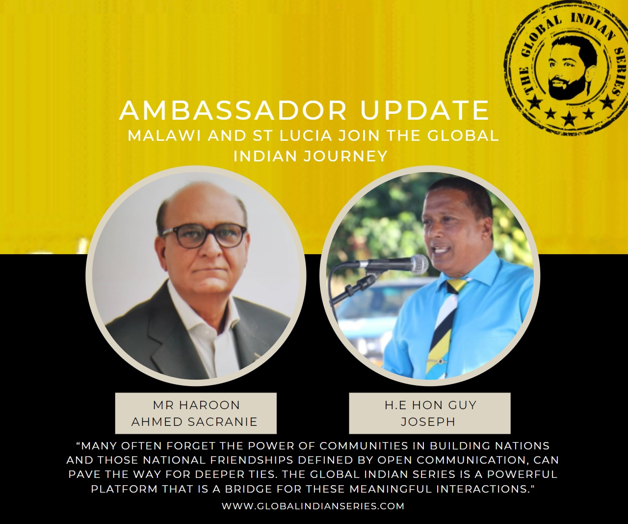 Haroon Sacranie Malawi and Guy Joseph St Lucia join the Global Indian Series